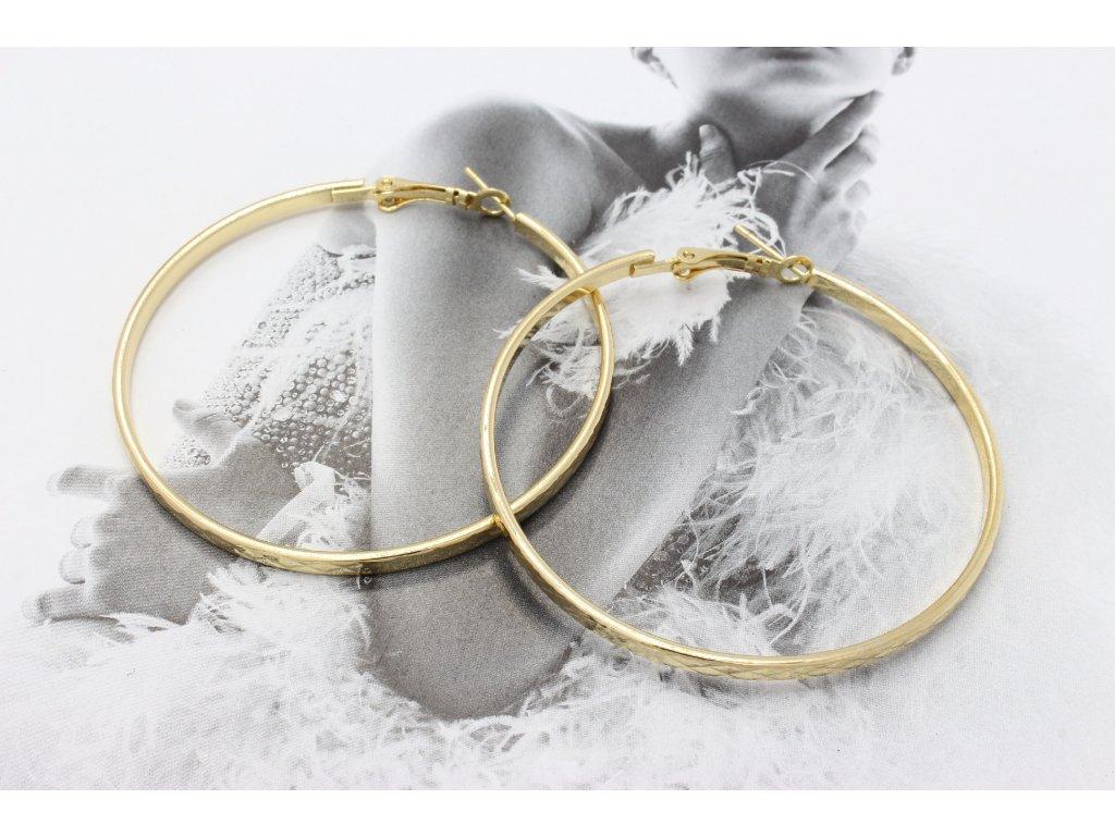 Zlaté náušnice kruhy so vzorom 5,5 cm-antialergické