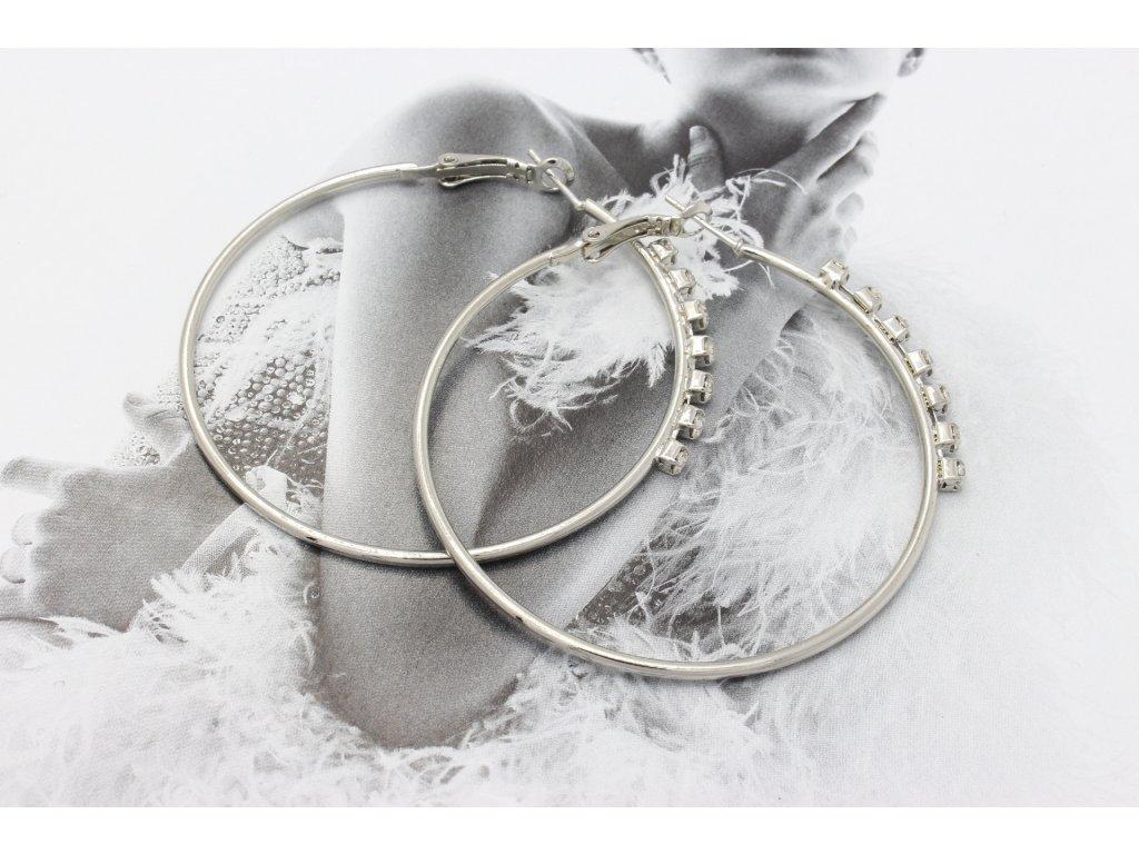 Strieborné náušnice kruhy s kamienkami 5,5 cm