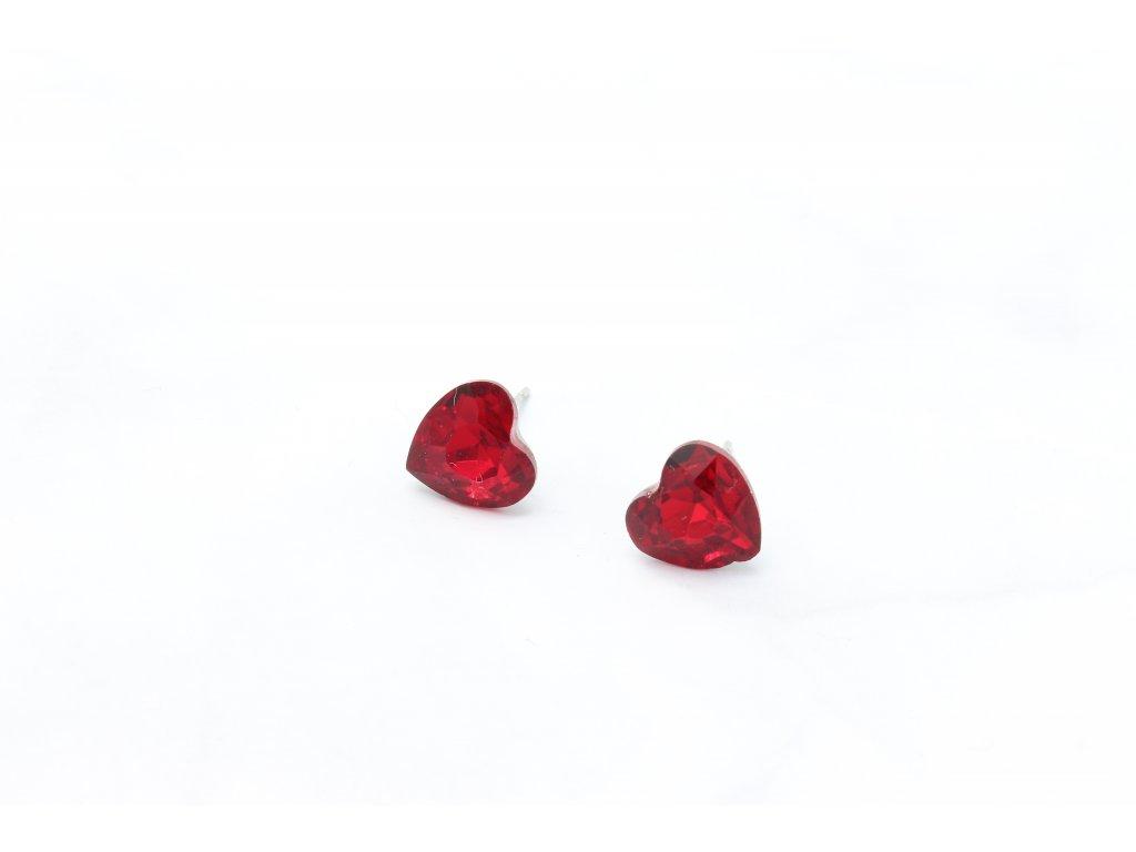 Napichovacie náušnice červené srdcia