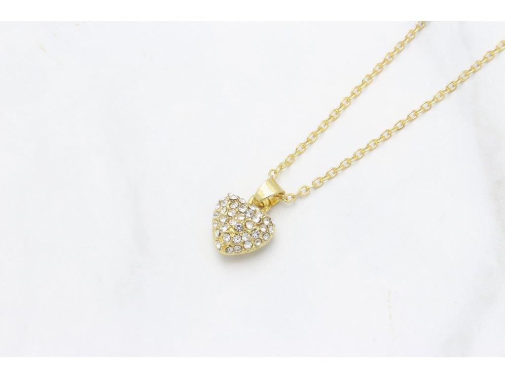 Retiazka s príveskom kamienkové zlaté srdce