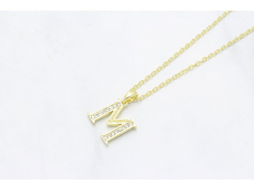 Retiazka s príveskom zlaté písmeno M
