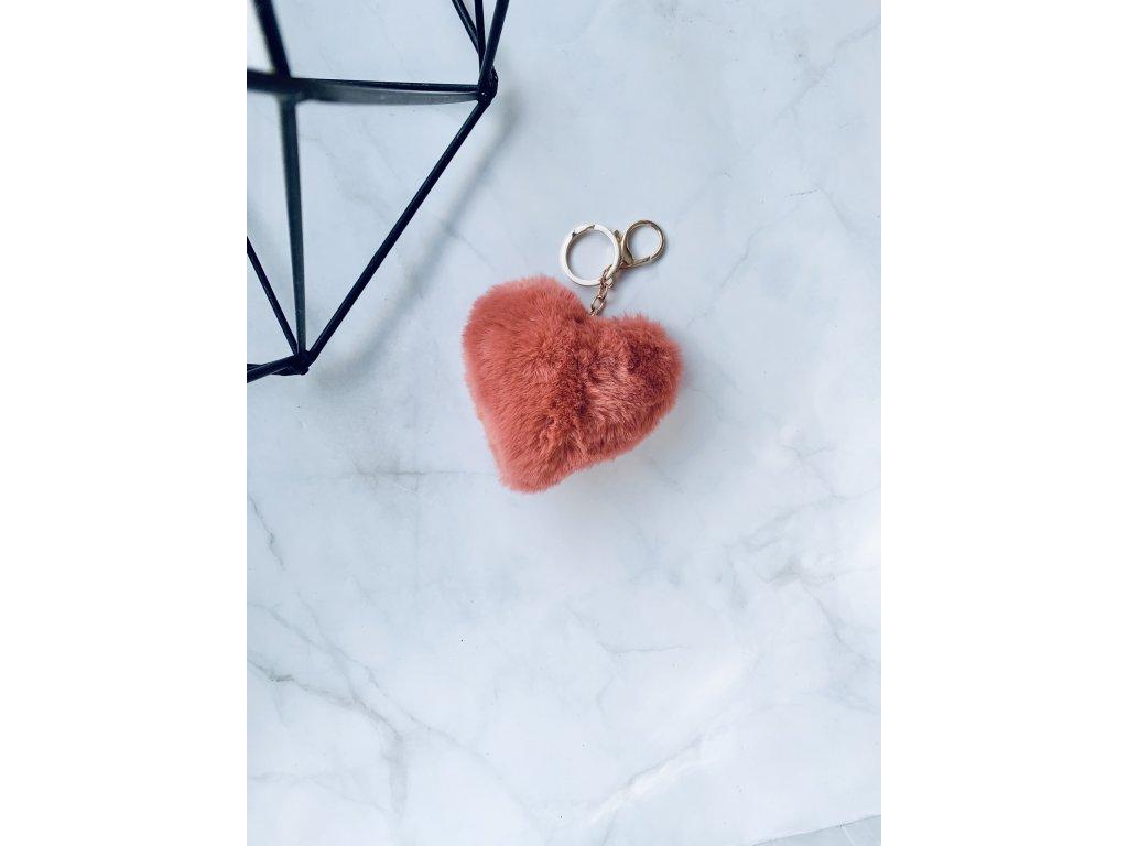 Prívesok kožušinové srdce staroružové