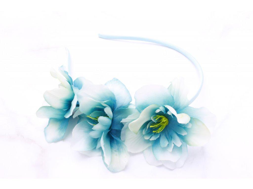 Modrá čelenka tri kvety