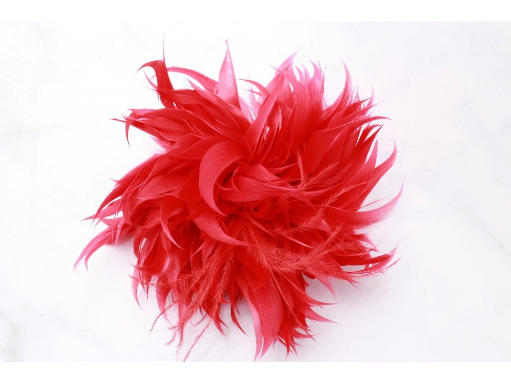 Červený kvet do vlasov z pierok