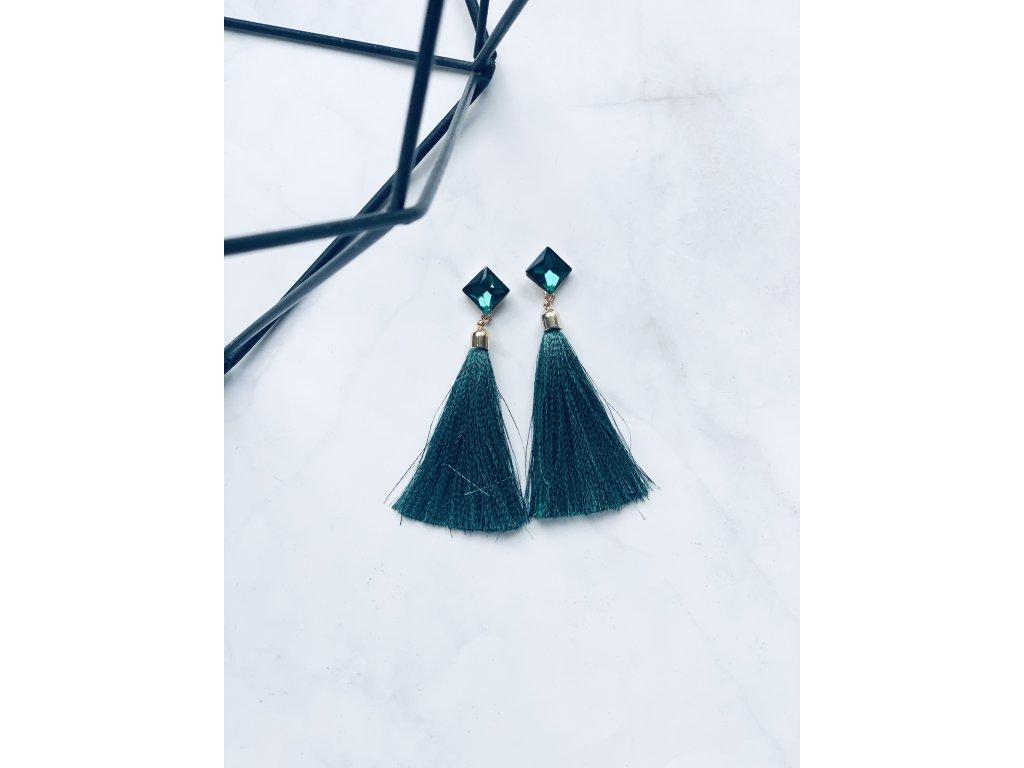 Smaragdové strapcové náušnice Lila