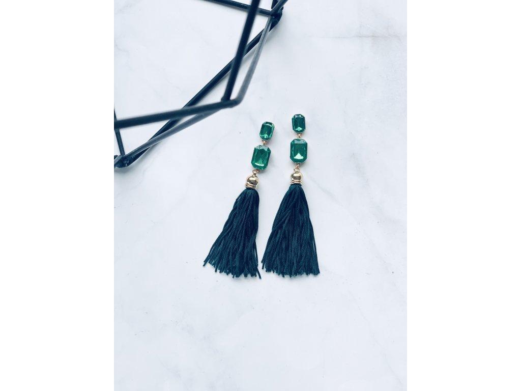 Zelené strapcové náušnice Tara