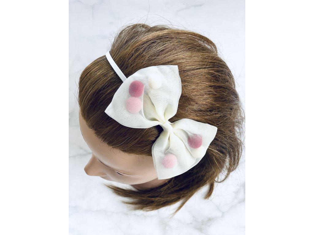 Maslová čelenka do vlasov s mašľou a farebnými guličkami