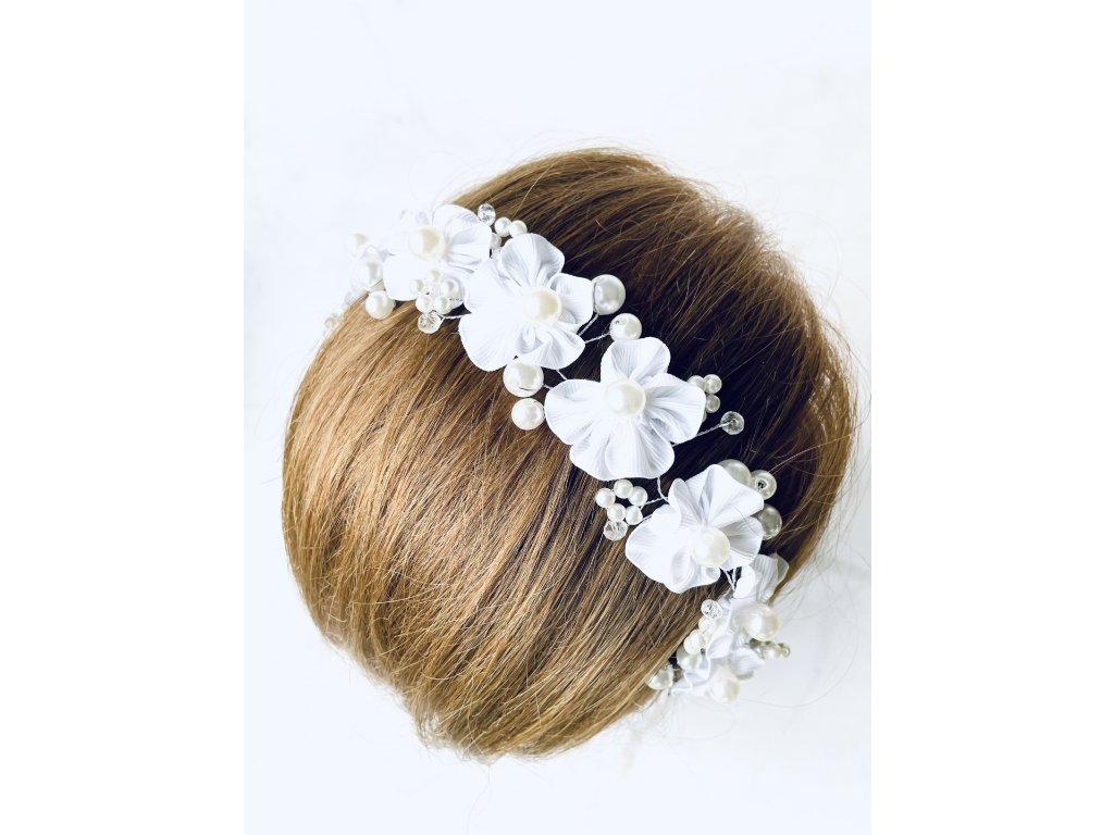 Biela vlasová ozdoba do vlasov White pearl