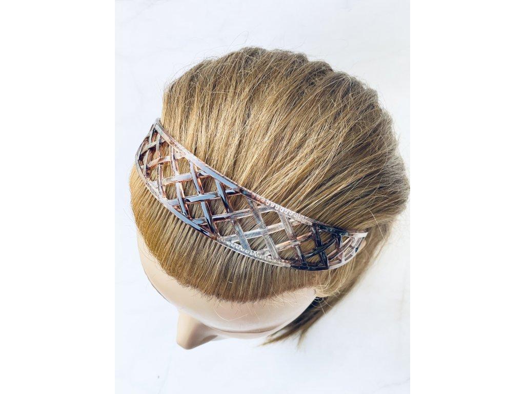 Priesvitná čelenka s hnedou do vlasov / hrubá vzorovaná