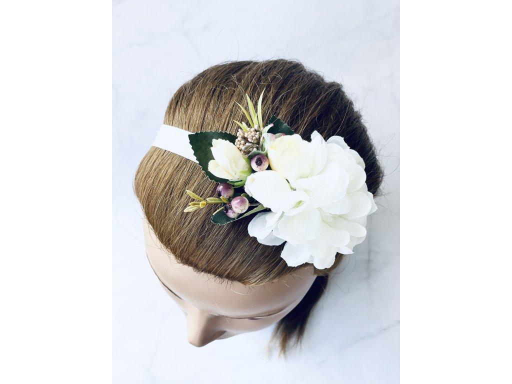 Elastická čelenka so svetlo žltými kvetmi