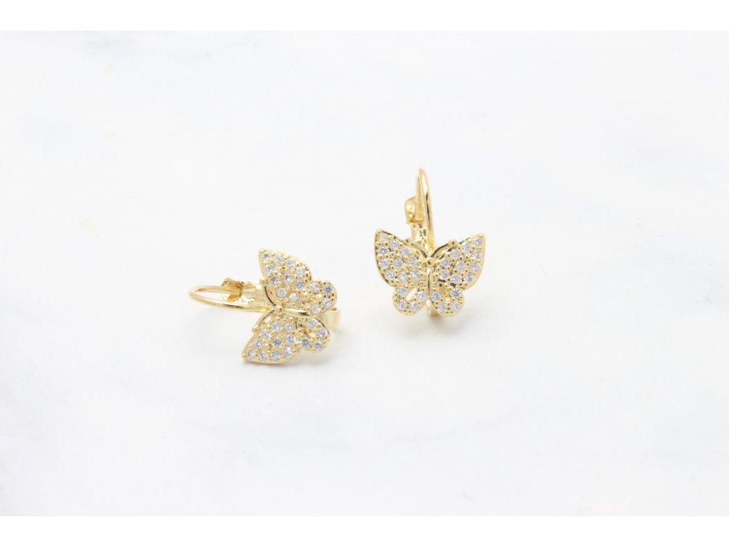 Rhodiované náušnice Butterfly Gold Crystal