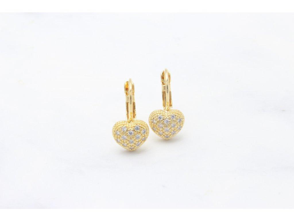 Rhodiované náušnice Heart Gold Crystal