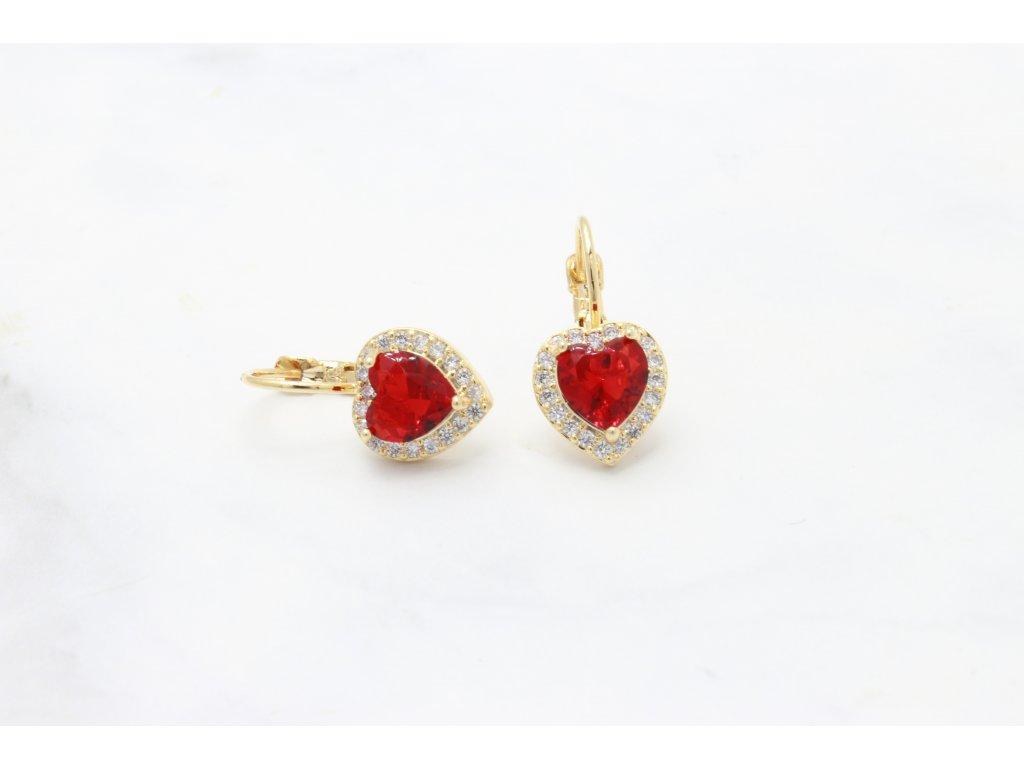 Rhodiované náušnice Red Heart Crystal