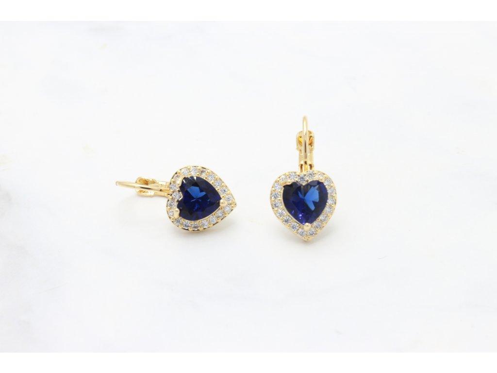 Rhodiované náušnice Blue Heart Crystal