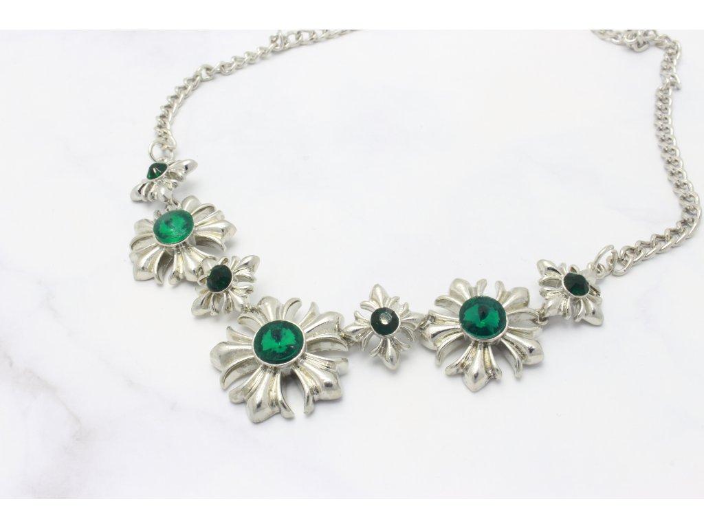 Strieborný náhrdelník Emerald flower