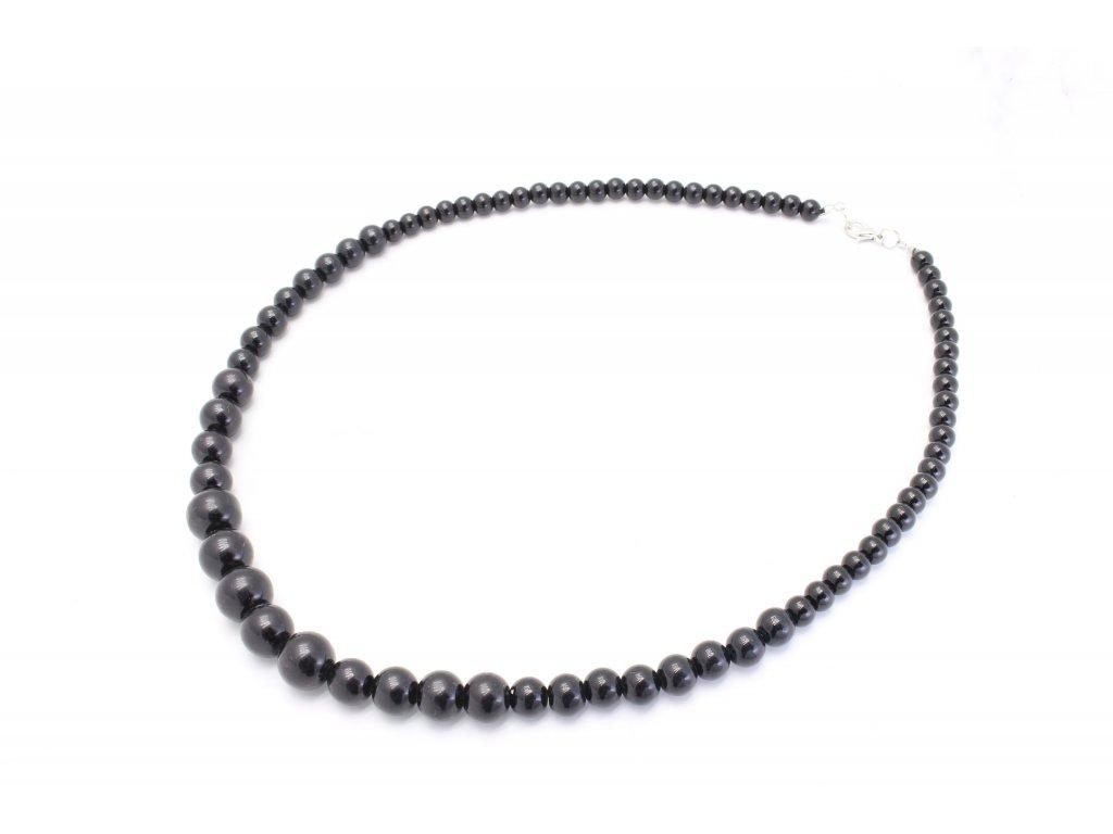 Perlový náhrdelník čierny