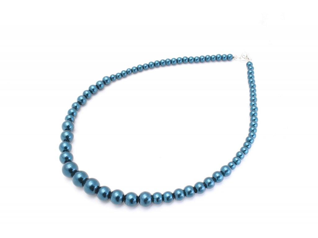 Perlový náhrdelník oceľovo modrý