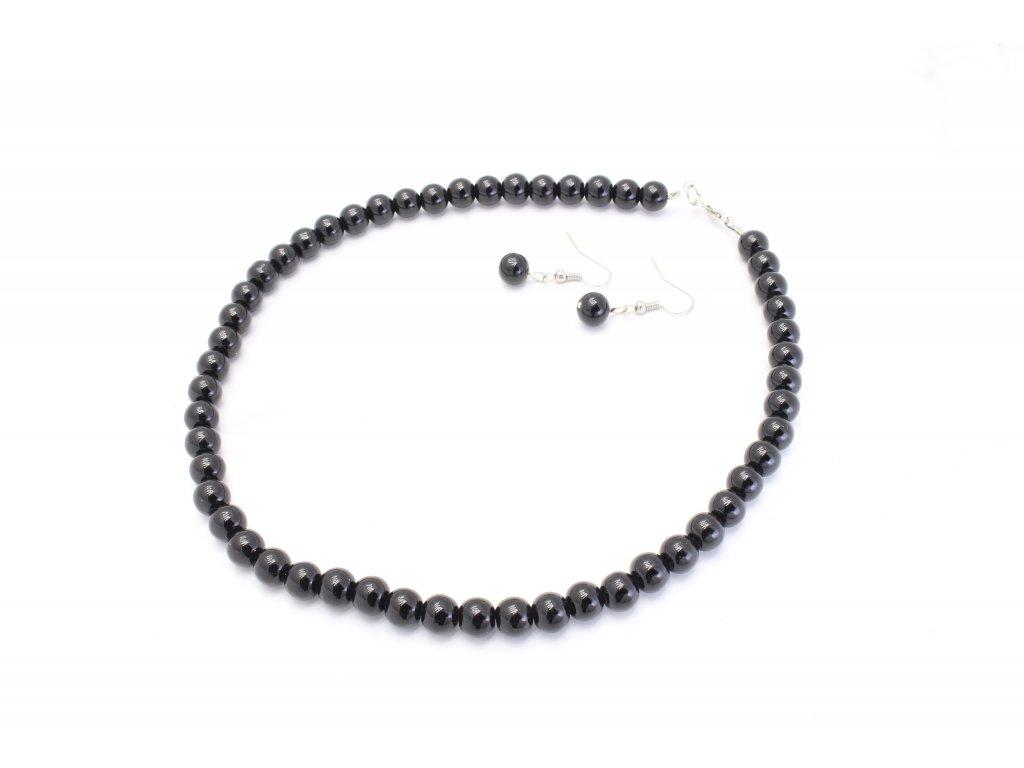 Perlový náhrdelník čierny s náušnicami