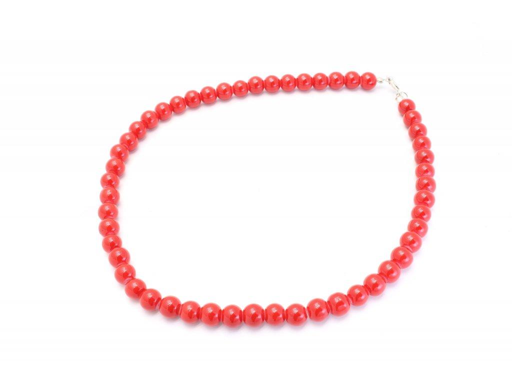 Perlový náhrdelník červený