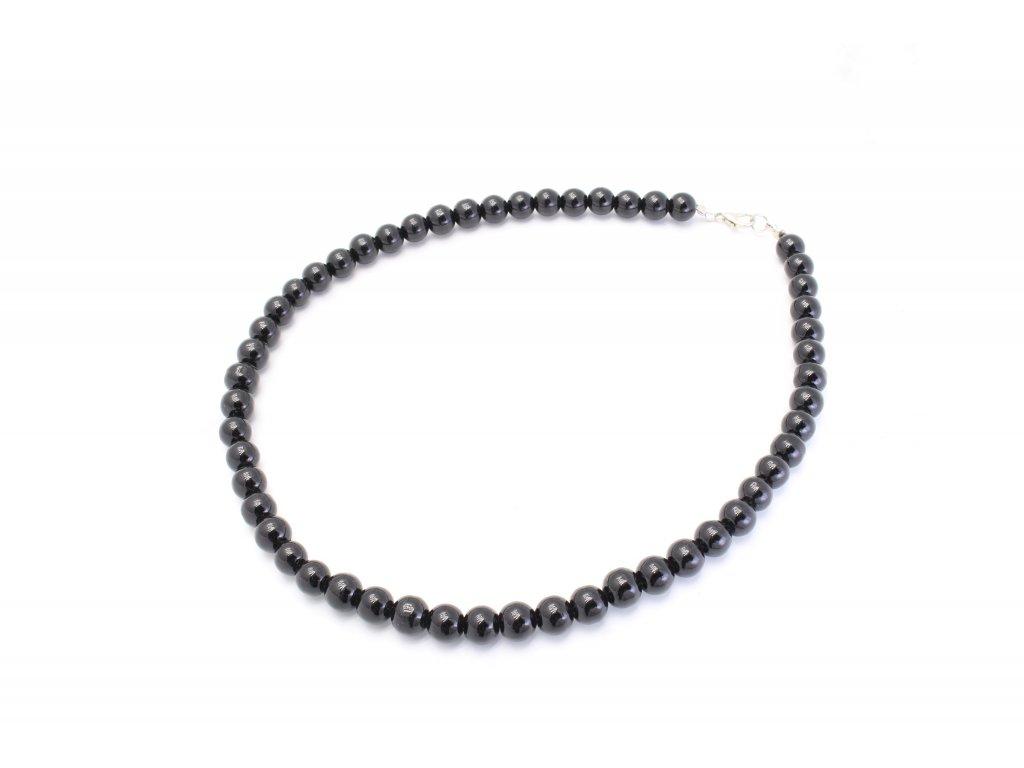 Perlový náhrdelník čierny klasik