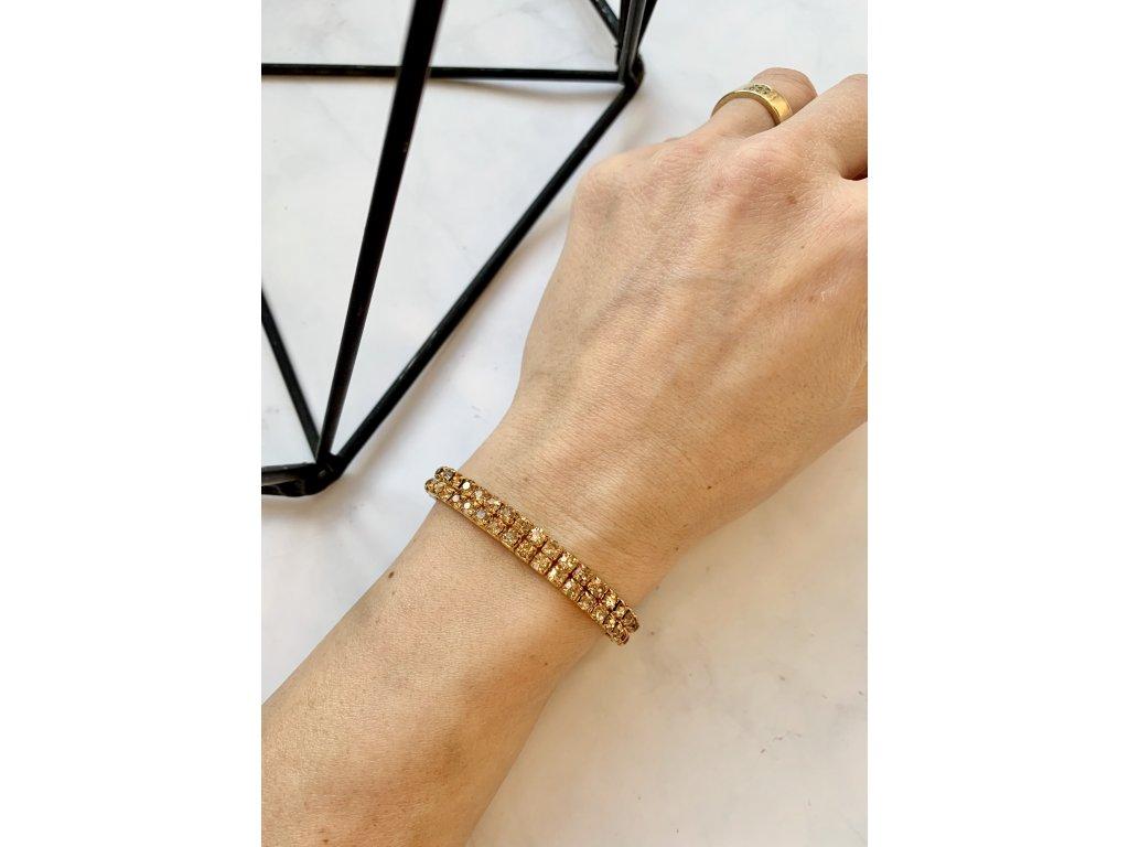 Štrasový náramok zlatý so zlatými kamienkami