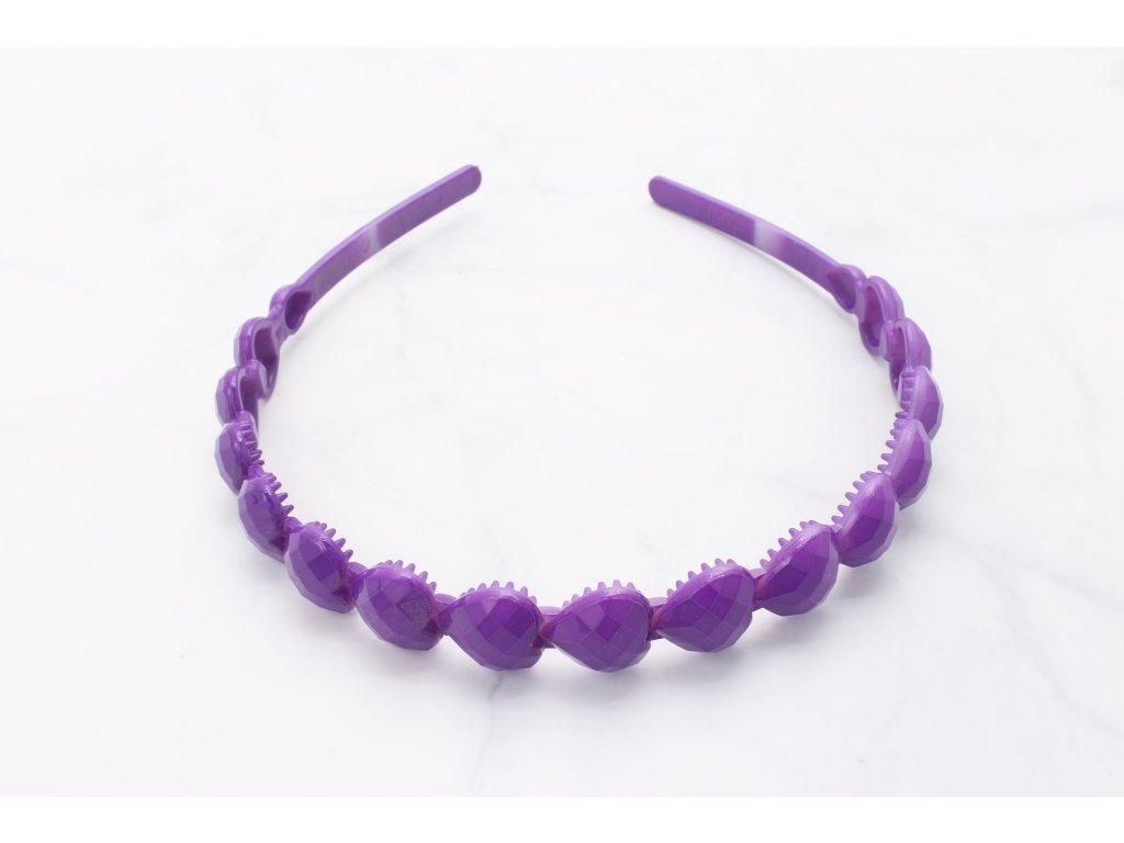 Čelenka plastová fialové srdiečka