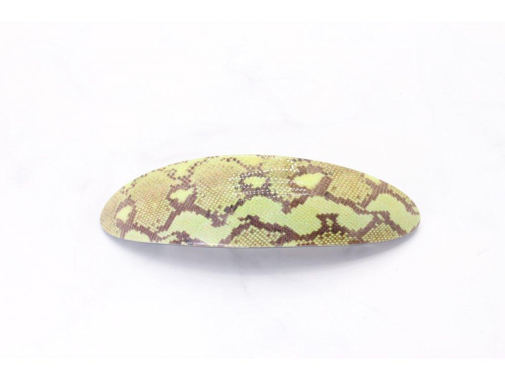 Francúzska spona zelená hadí vzor