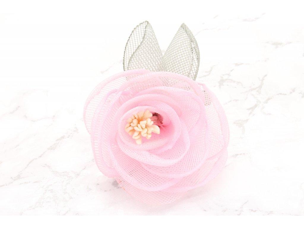 Kvet do vlasov ružový malý