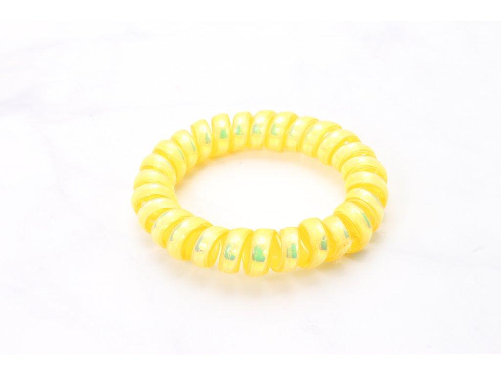 Špirálová gumička holografická žltá