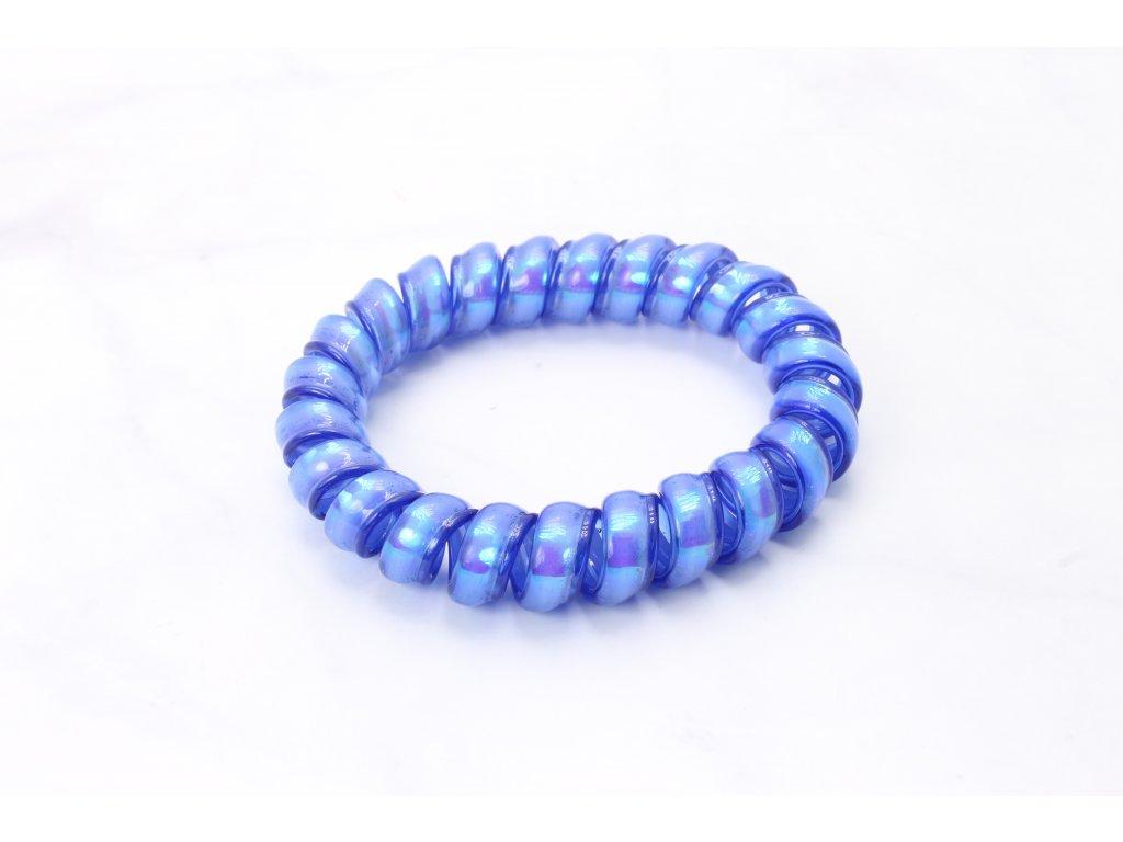 Špirálová gumička holografická modrá