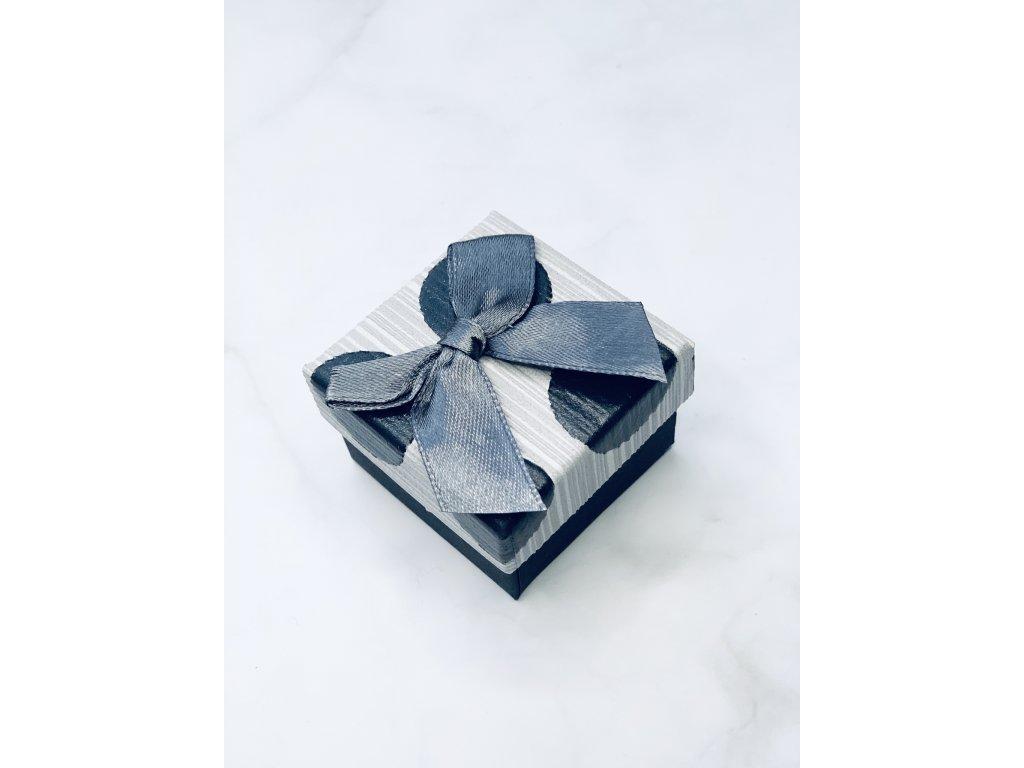 Darčeková krabička malá so sivou mašľou guličky
