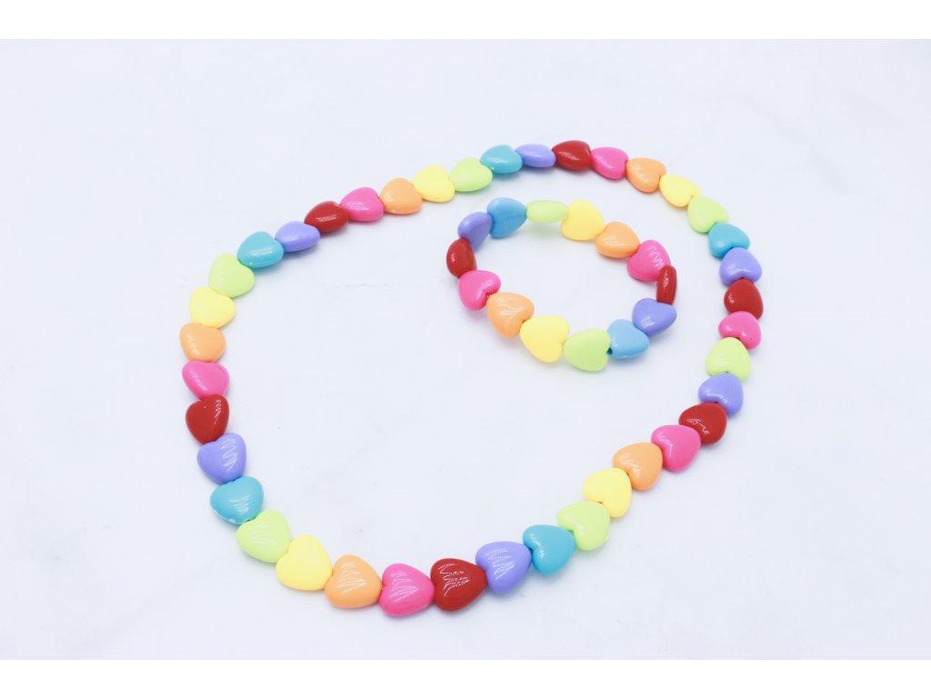 Detský náhrdelník s náramkom farebné srdiečka