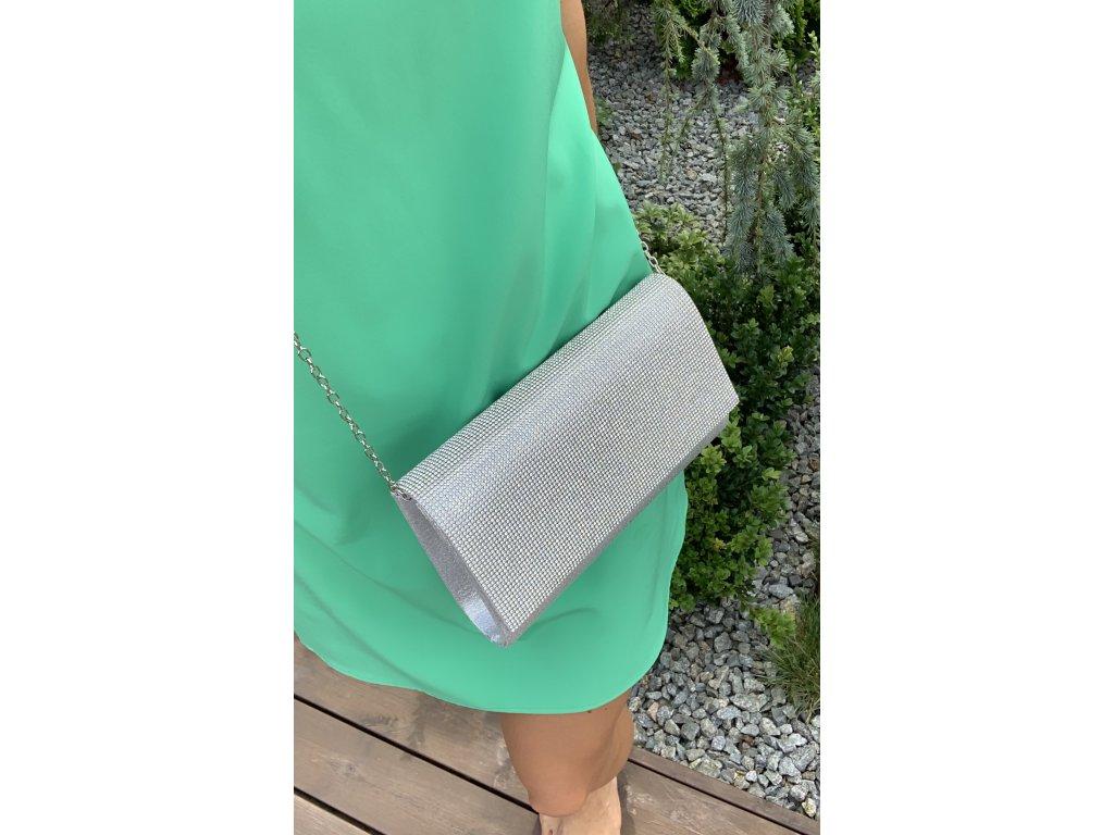 Elegantná strieborná kabelka s kamienkami