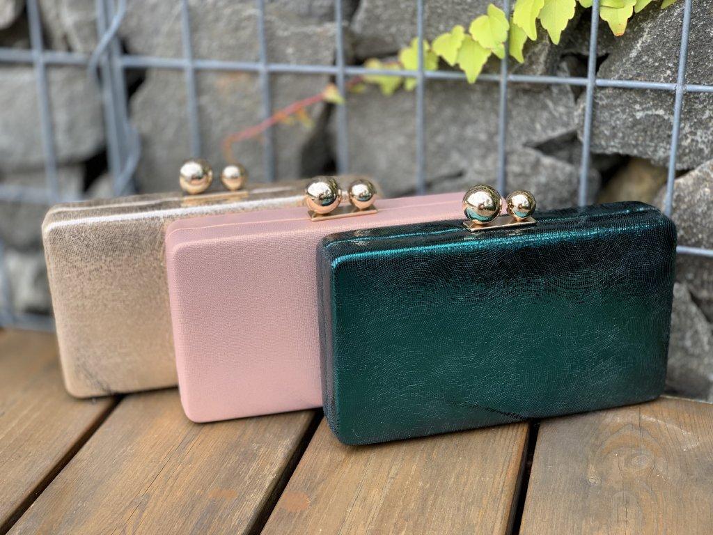 Trendová kufríková kabelka zlatej farby