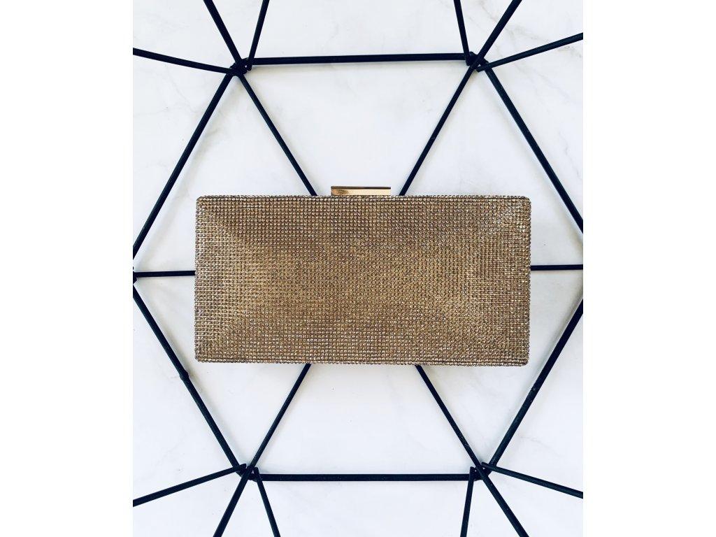 Elegantná zlatá kabelka vykladaná kamienkami