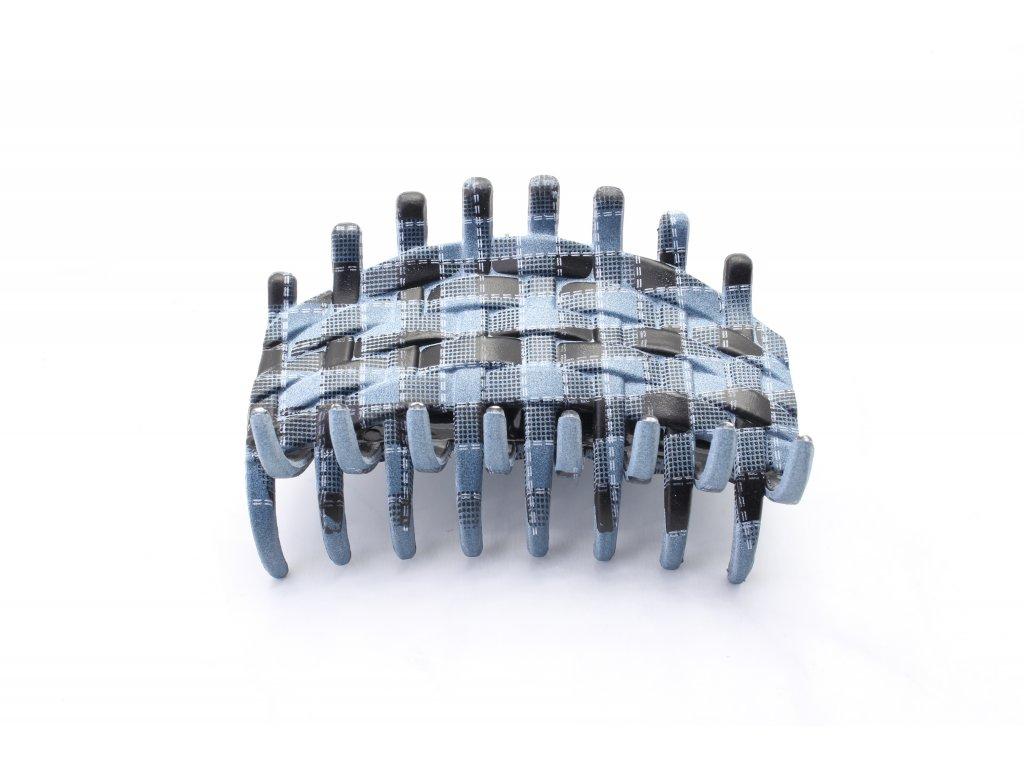 Plastový prepletaný štipec čierno-sivo-modrý