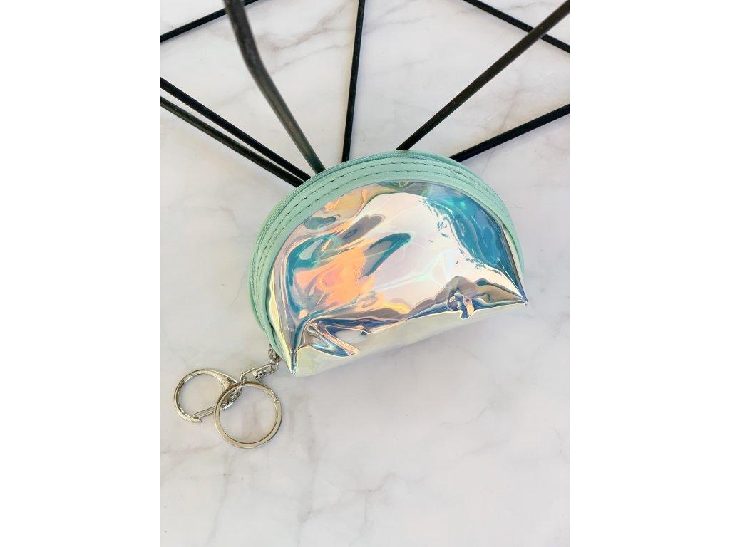 Holografické vrecúško so svetlo tyrkysovým lemovaním