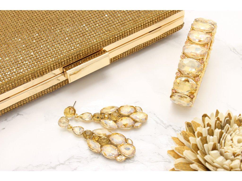 Spoločenská kamienková kabelka zlatá