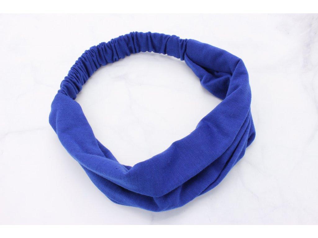 Látková čelenka kráľovská modrá