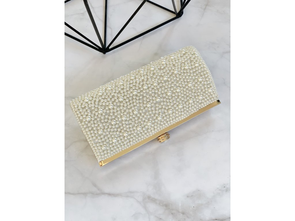 Elegantná perlová kabelka v zlatom prevedení