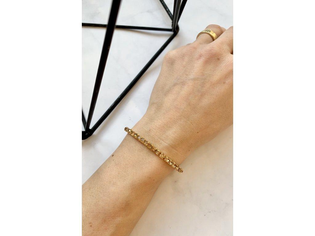 Štrasový náramok Leila Gold
