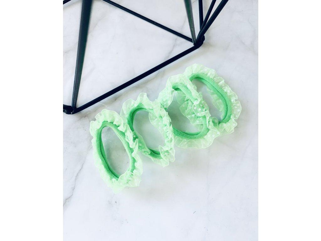 Sada gumičiek s bodkovaným tylom- neónová zelená