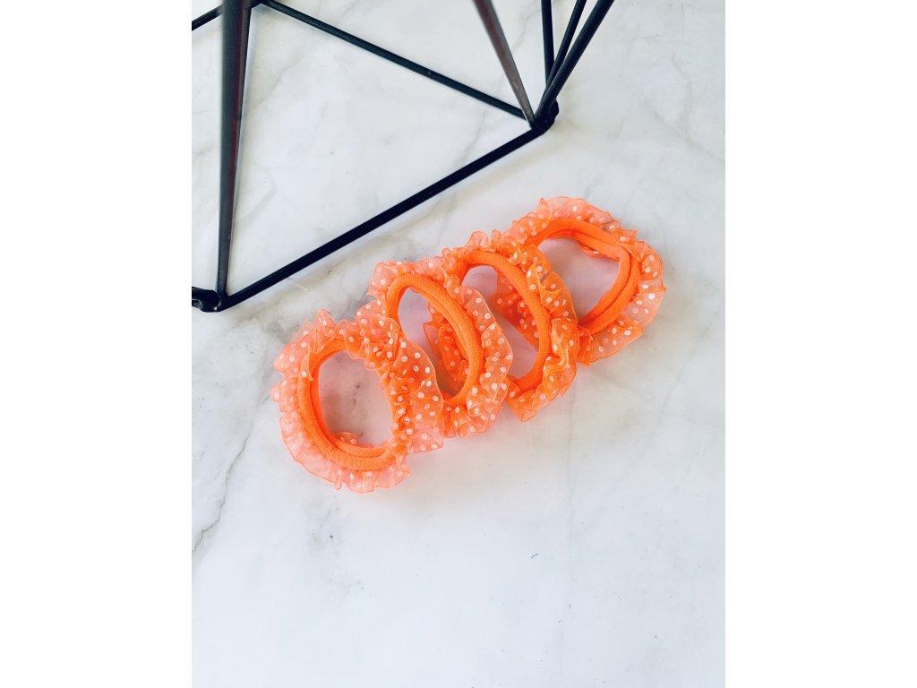 Sada gumičiek s bodkovaným tylom-neónová oranžová