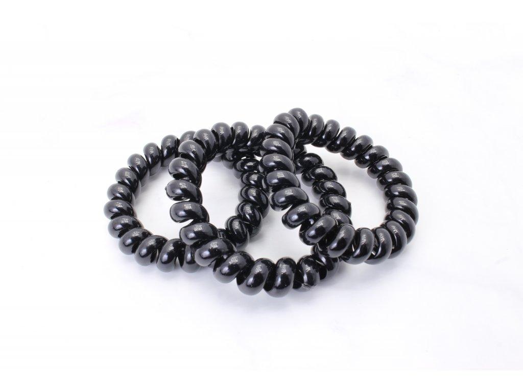 Set čiernych špirálových gumičiek