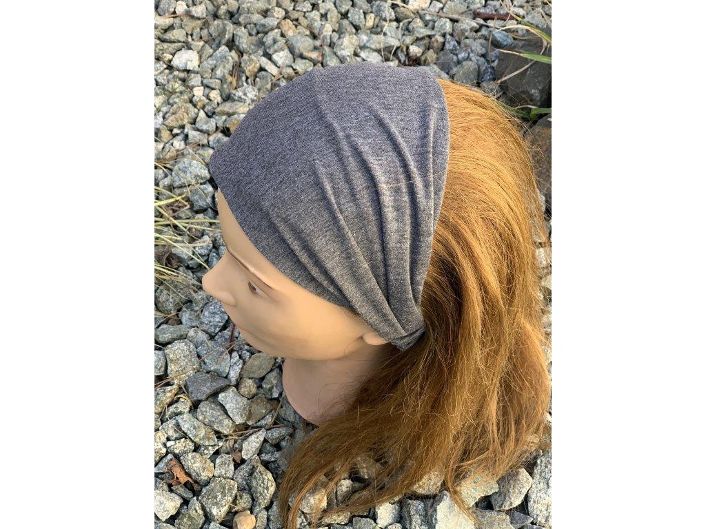 Látková čelenka sivá