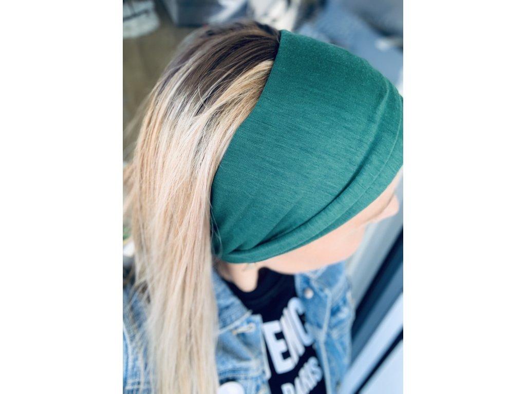 Látková čelenka smaragdová zelená