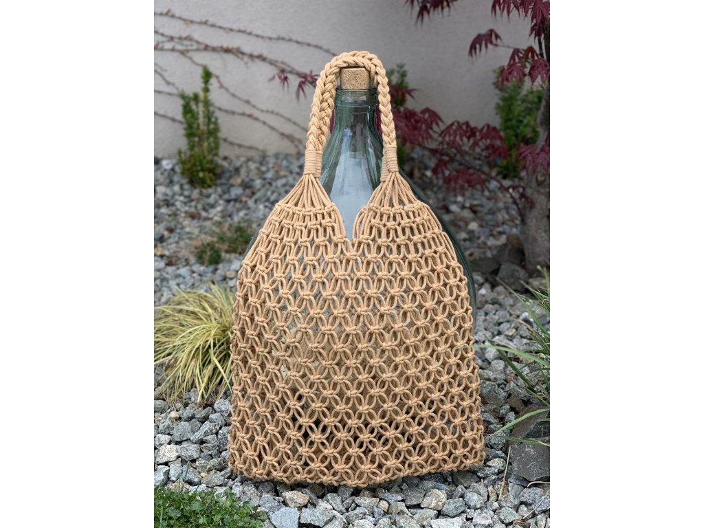 Letná hnedá prepletaná kabelka