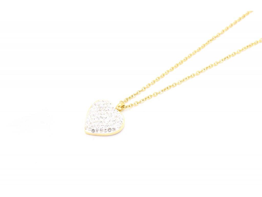 Rhodiovaná zlatá retiazka s bielym srdiečkom