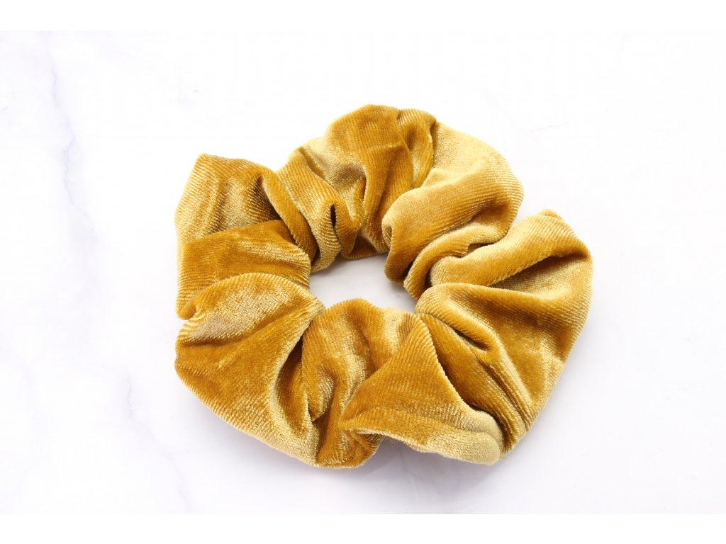 Scrunchie semišová v okrovej farbe