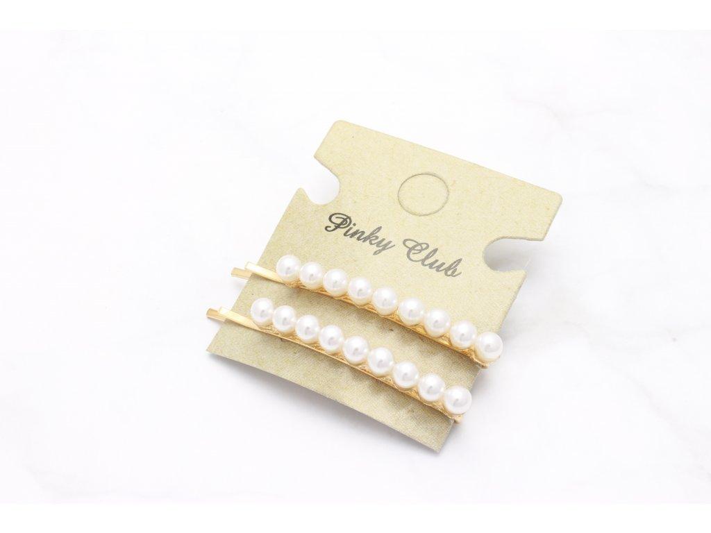 Set dvoch sponiek v zlatej farbe s perličkami